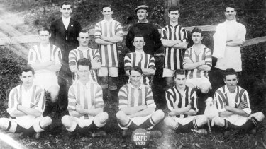 Proud history: A team shot of the Balgownie Rangers club from 1921.