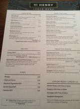 The limited menu at the tavern on Manning Road.