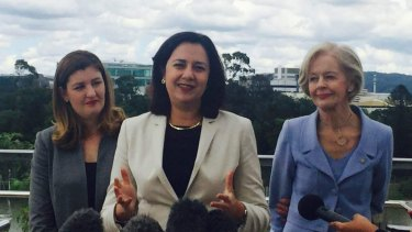 Queensland minister for women Shannon Fentiman, Premier Annastacia Palaszczuk and Dame Quentin Bryce announcing the fast-tracking of measures designed to tackle domestic violence.