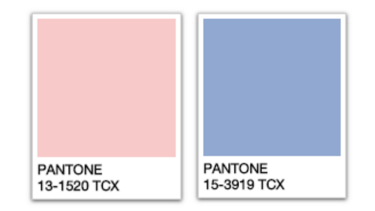 The Pantone Colours of the Year: Rose Quartz and Serenity.
