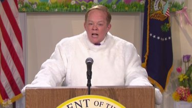 Melissa McCarthy as Sean Spicer parodying the revelation he had played the Easter Bunny in the Whitehouse's famous Easter Egg roll.