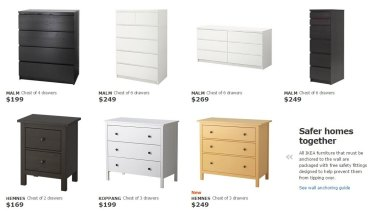 "Malm chests of drawers listed on the Ikea Australia website, alongside a warning that they ""must be anchored to the wall."""