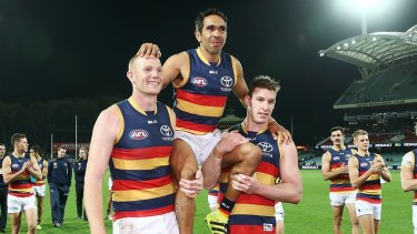 Eddie Betts is chaired from the field by teammates after his 250th game on Saturday night.