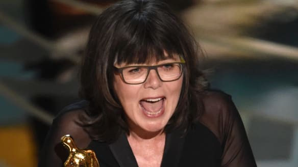 Sydney's Margaret Sixel accepts the award for best film editing for Mad Max: Fury Road at the Oscars in 2016.