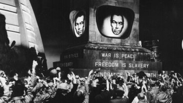 Propaganda has come a long way since the Cold War - yet its internal logic remains the same. Scene from a 1956 film production of George Orwell's <i>1984</i>.