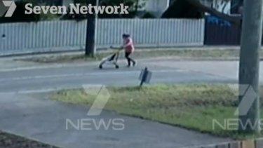 CCTV footage of Sofina Nikat pushing daughter Sanaya Sahib in a stroller.