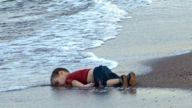 The body of 3-year-old Alan Kurdi (originally reported as Aylan Kurdi) washed onto the beach near the resort of Bodrum, Turkey, after the small boat carrying his family to the Greek island of Kos capsized.