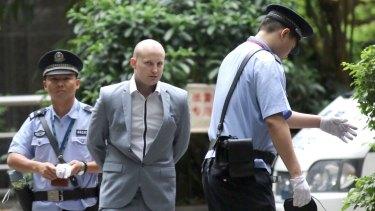 Peter Gardner arrives at Guangzhou Intermediate Court on Thursday.