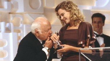 Mickey Rooney and Kylie Minogue. Photo: TV Week