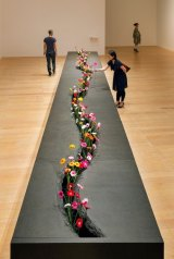 Lee Mingwei's <i>The Moving Garden</i>, 2009/2014 mixed media interactive installation granite, fresh flowers