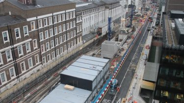 London's Cross Rail project under construction: a levy on property owners will pay for a quarter of its cost.