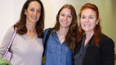 Sarah Ferguson arrives at Sydney Airport and welcomed by sister Jane and her daughter.