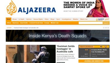 The Al Jazeera English homepage on Monday morning (AEDT).