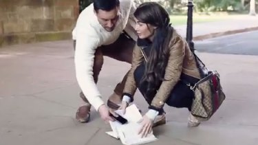 Salim and Aysha Mehajer in their pre-wedding video, re-enacting an early encounter at the University of Sydney.