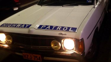 1970s style police car in Kings Cross on Wednesday filming a new Mardi Gras telemovie for ABC.