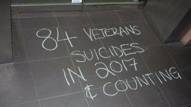 Veterans' advocates are posting public chalk drawings online for the national Veteran Chalk Challenge, highlighting the toll of veterans' suicides.
