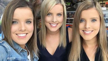 The triplets at the heart of the story: Amy, Sophie and Kate Taeuber.