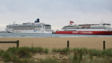 The Norwegian Star moored next to the Spirit of Tasmania.