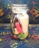 Erin Rhoads has stored all her rubbish over the past 18 months in a jar.