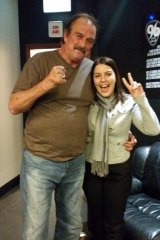 Wrestler Jake 'The Snake' Roberts with Candice Barnes.