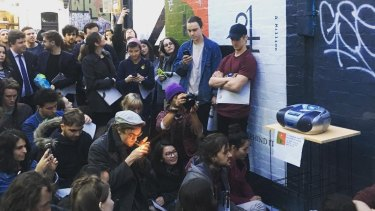 The Bon Iver listening party in Fitzroy, one of many simultaneous events around the world.