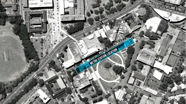 Sydney University's preferred site for a train station on Maze Crescent.