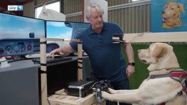 Mark Vette instructs his dog Reggie in a flight simulator.