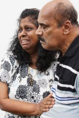 Raji Sukumaran breaks down while pleading for her son's life on Tuesday afternoon.
