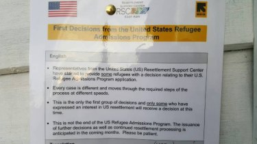 A notice posted on Manus Island from the US Resettlement Support Centre.