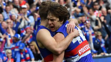 Bulldog Liam Picken celebrates a goal.