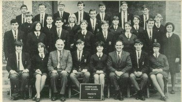 Cumberland prefects of 1967. David Cook (Far left, second row) Malcolm McDivitt (Centre, bottom row).