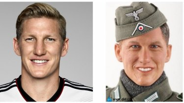 'Coincidence': Bastian Schweinsteiger, left, and the 'Bastian' doll, right.