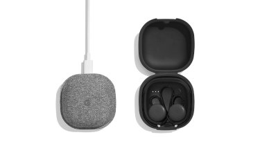 The Pixel Buds' carry case doubles as a charge cradle.