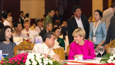 Julie Bishop and Wang Yi at the East Asia Summit.