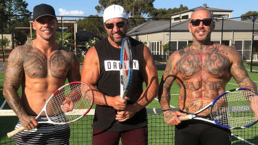 (From left) Former Richmond player Jake King, Shane Charter and underworld figure Toby Mitchell.