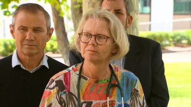 Dr Fiona Lake speaks to media on Monday.