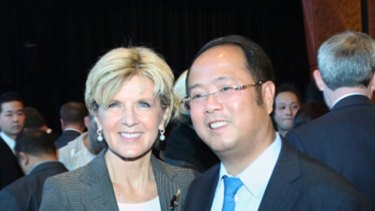 Then Foreign Affairs Minister Julie Bishop and Huang Xiangmo at the Australia-China Relations Institute in 2014.