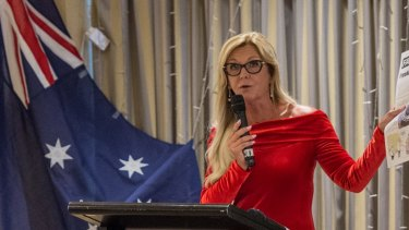 Q Society president Debbie Robinson speaks at a fundraiser at North Ryde RSL in February 2017.