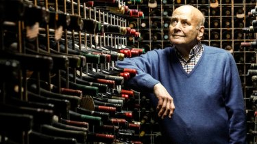 James Halliday in his private cellar at home, where the WA wines have been immaculately kept.