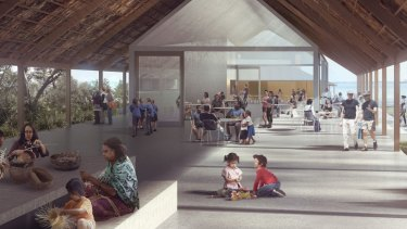 A concept design of a new cafe at Kamay Botany Bay National Park, among the new facilities to be co-designed with the Aboriginal community.