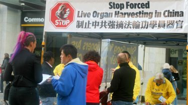A protest in the City of Perth aimed at raising awareness of the Chinese government's treatment of Falun Gong protesters.