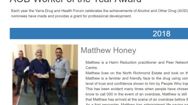 Matthew Honey won Yarra Drug and Health Forum's Worker of the Year Award in 2018.