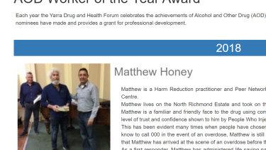 Matthew Honey won Yarra Drug and Health Forum's Worker of the Year Award in 2018.