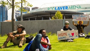 A group of Melbourne's homeless staged a protest outside Rod Laver arena in 2017.