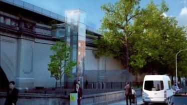 Kesan seniman tentang lift yang sebelumnya diusulkan untuk ujung utara jembatan.