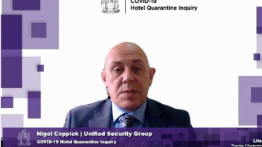 Unified Security's Nigel Coppick before the hotel quarantine inquiry on Thursday.
