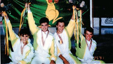 Steven Bradbury (left) on the podium at Macquarie Ice Rink in 1991.