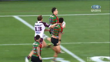 Jake Trbojevic clearly pulled on the jersey of Dane Gagai.