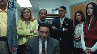 Hugh Jackman (centre) in Bad Education, directed by Cory Finley.