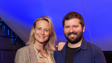 Marta Dusseldorp and Kip Williams at the launch of STC's 2020 season at the Roslyn Packer Theatre in Walsh Bay.